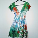 Tropical Look Open V Neck Burnout Fabric Live Love Life Dress by Tiki Palm M