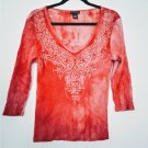 Rib Knit Cotton Faded Embellished Paisley Front Long Sleeve Women's Tee Shirt L