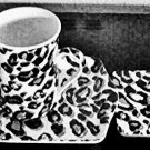 Kent Pottery Cheetah Print Mug Coaster and Tray Set Gift Boxed