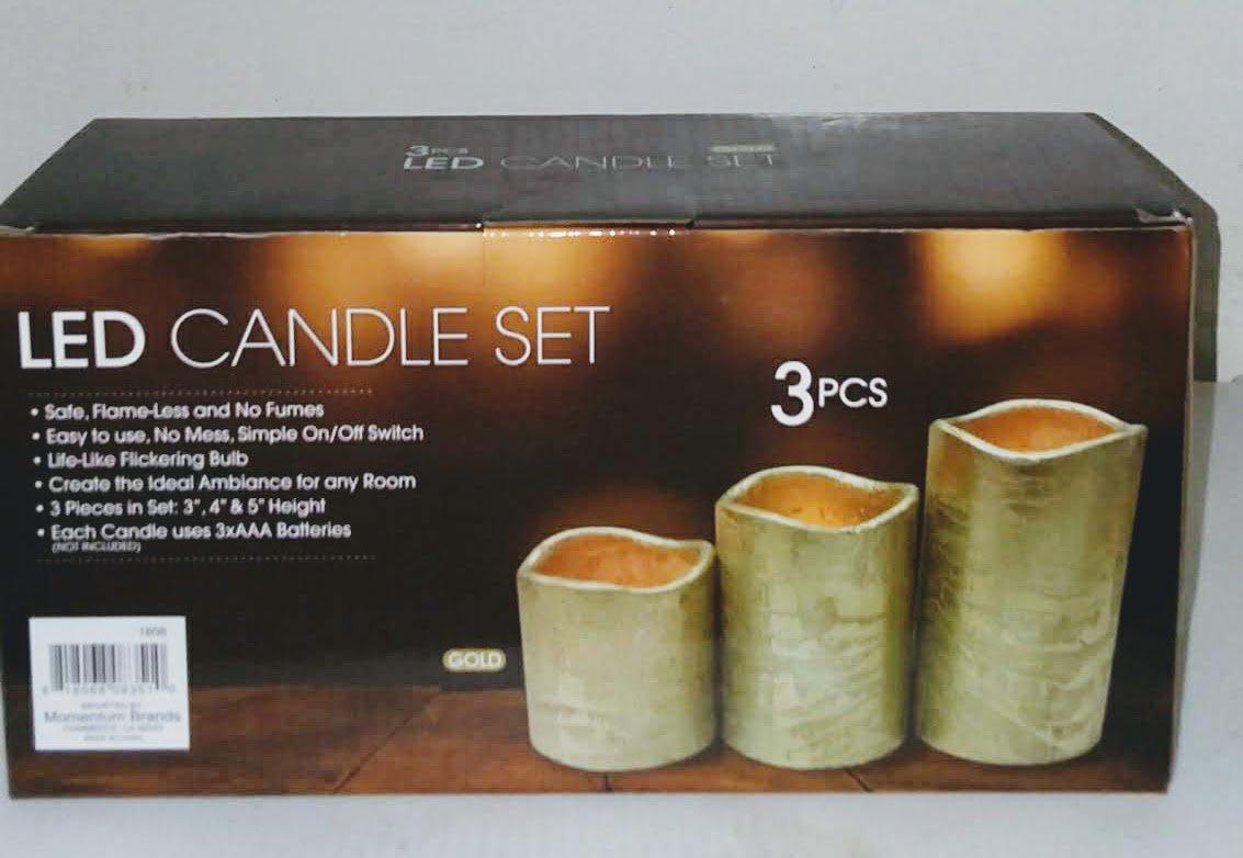 LED 3 Pc Candle Set Assorted Gold Textured Resin New
