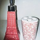 Red Paris Eiffel Tower Ceramic Soap Lotion Dispenser & Toothbrush Holder Bath Set