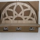 Wooden Natural Folding Cutout Wall Shelf with Crystal Knobs
