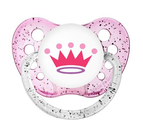 Princess Crown Pacifier - Tiara Soother - Ulubulu Binky 6+ months - Glitter Pink Dummy
