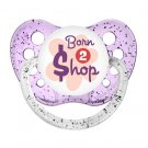 Born To Shop Dummy - Ulubulu Binky - 6+ months - Little Girl Pacifier - Glitter Purple Soother