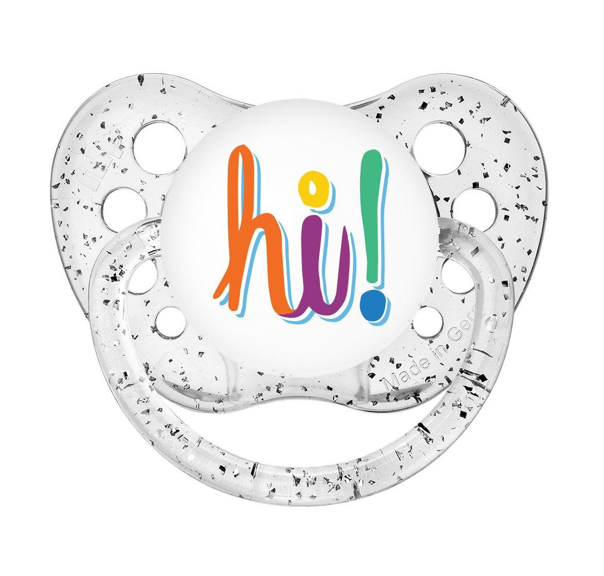 Hi Pacifier - 6+ months - Glitter Clear Paci - Unisex - Ulubulu Binky - Hi Binky