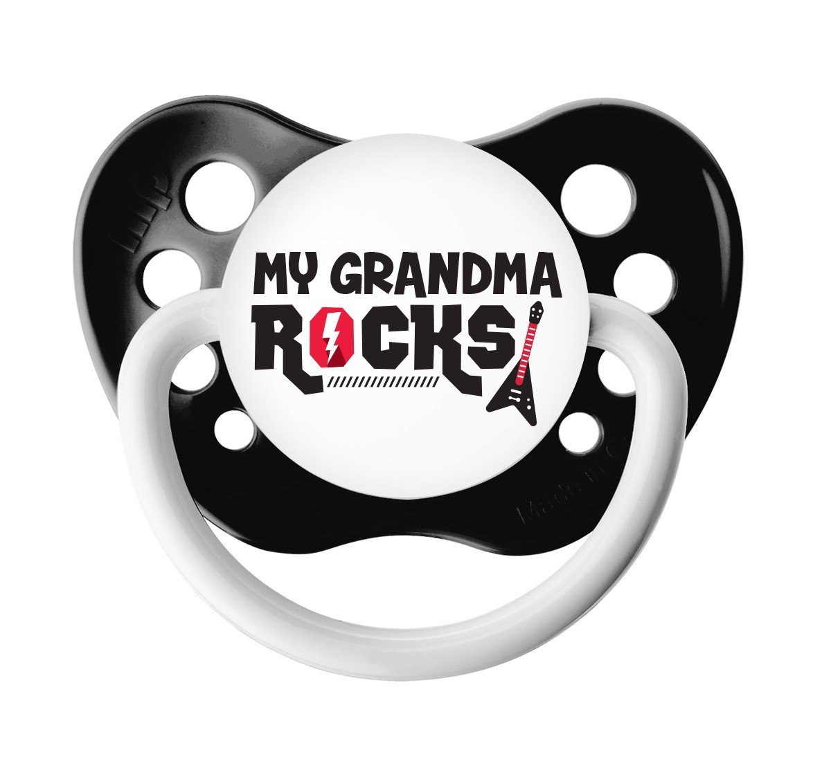 My Grandma Rocks Pacifier - Ulubulu - 6+ months - Black - Unisex - Guitar Binky