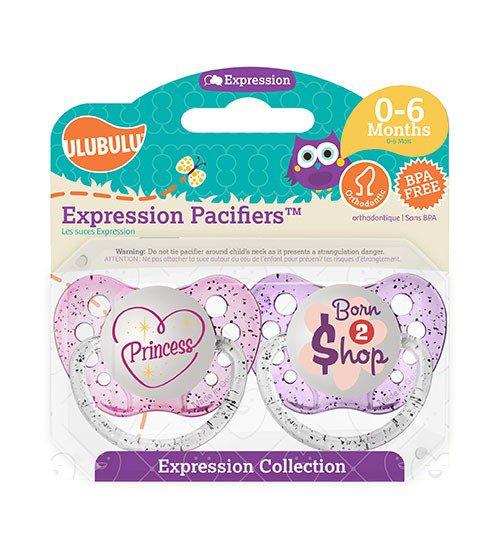 Princess Pacifier and Born To Shop Pacifier Set - Girls - 0-6 months - Ulubulu - Glitter Binkys