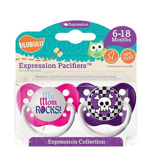 My Mom Rocks Pacifier and Purple Skull Pacifier Set - Girls - 6+ months - Ulubulu