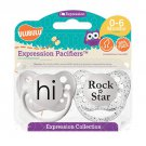 Hi Pacifier and Rock Star Pacifier - 0-6 months - Unisex - Ulubulu - Set of 2 Binkies
