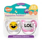 LOL Pacifier and Laughing Emoji Pacifier Set - Girls - 0-6 months - Ulubulu - 2 Binkies