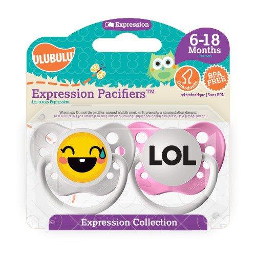 Laughing Emoji Pacifier and LOL Pacifier Set - 6+ months- Girls - Ulubulu - Set of 2 Binkies