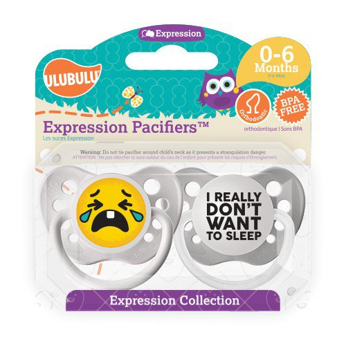 I Really Don't Want To Sleep Pacifier and Crying Emoji Pacifier Set - 0-6 months - Unisex- Ulubulu
