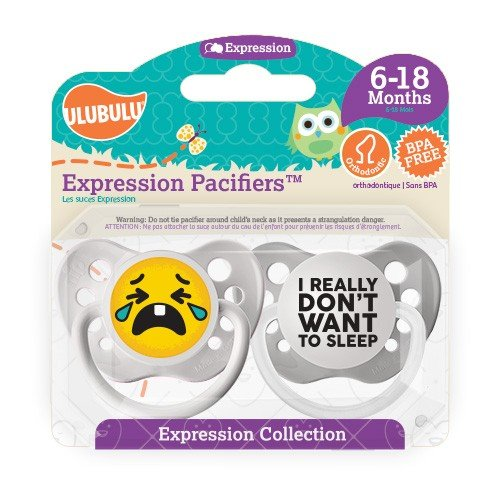 Crying Emoji Pacifier and I Really Don't Want To Sleep Pacifier - Unisex - 6+ months - Ulubulu