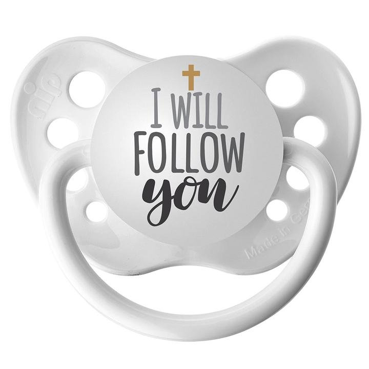 I Will Follow You Pacifier - Ulubulu - White - 0-6 months - Unisex - Religious Baby Gift