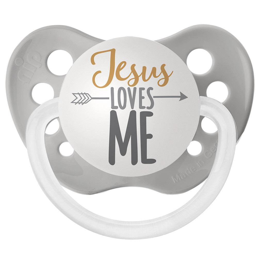 Jesus Loves Me Pacifier - Ulubulu - Gray - 6+ months - Unisex - Religious Baby Gift