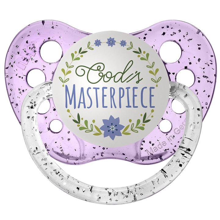God's Masterpiece Pacifier - Ulubulu - Purple - 0-6 months - Girls - Religious Baby Gift