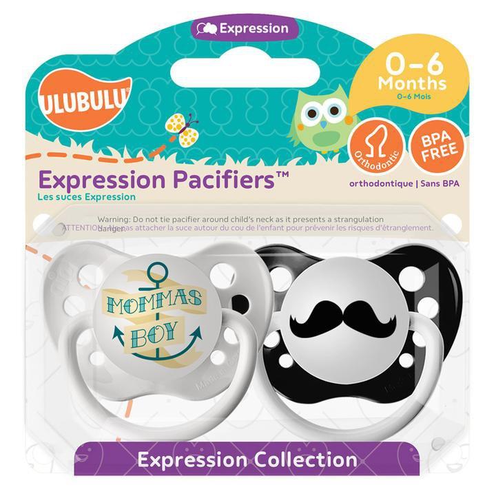 Momma's Boy Pacifier and Mustache Pacifier Set - 0-6 months - Boys - Ulubulu