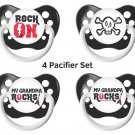 Rock Pacifier Set - Unisex - Black - Includes 4 Pacifiers- Alternative Baby Gift