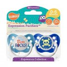 Ulubulu Pacifier Set For Boys - My Mom Rocks & Blue Skull Binky - 0-6 months