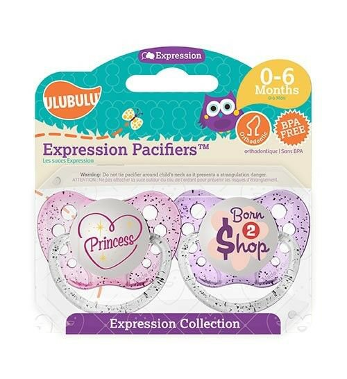 Ulubulu Girl Pacifier Set - Princess & Born To Shop - 0-18 months - 2 Binky Set