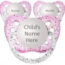 3 Girl Personalized Pacifiers - Glitter Pink - 0-6 months - Name Binky - 3 Glitter Soothers