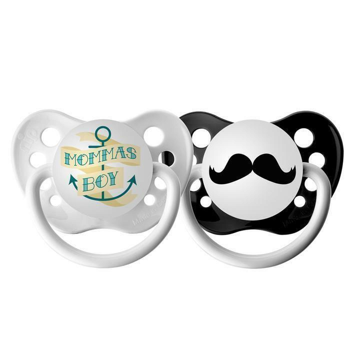 Ulubulu Pacifier Set for Boys - Mustache & Momma's Boy Binky - 0-18 months