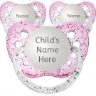 3 Girl Personalized Pacifiers - Glitter Pink - 6-18 months - Name Binky - 3 Glitter Soothers