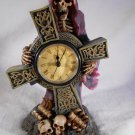 GRIM REAPER Mantel CLOCK Medieval Gothic HALLOWEEN Decor SKELETON (#37071)