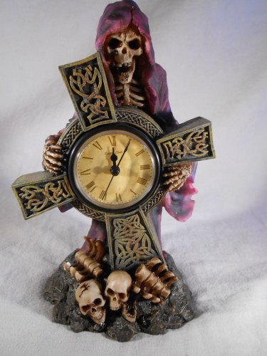 GRIM REAPER Mantel CLOCK Medieval Gothic HALLOWEEN Decor SKELETON (#37071)