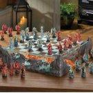 DRAGON BATTLE CHESS SET Glass Game Board Dragons Warriors Mythology  (#15191)