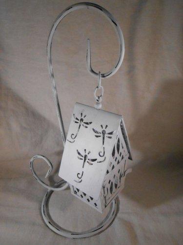 Hanging White COTTAGE CANDLE LANTERN Metal Tealight Or Votive (#38560)
