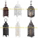 Moroccan CANDLE LANTERNS Medallion Scrollwork BLACK, WHITE Choose From 9 Styles