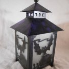 Halloween CANDLE LANTERN Spooky BAT SILHOUETTE Purple & Black Metal (#14202)