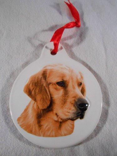 GOLDEN RETRIEVER Christmas Tree ORNAMENT Ceramic DOG Holiday Decor PET (#37228)