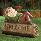 Sleepy GNOME Welcome Garden Sign Figurine Statue Outdoor Decor (#14584)