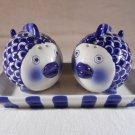 FISH Salt and Pepper SHAKERS SET with Dish Ceramic Kitchen Accesories (#39170)