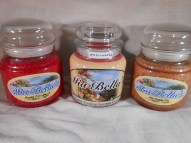 APPLE SCENTED Jar CANDLE Cinnamon Peaches Pie ALL NATURAL WAX Mia Bella's Candle