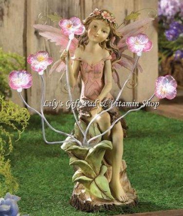 PEONY FAIRY Solar Powered Statue Flowers Light Up GARDEN Decor Spring (#13915)