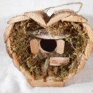 Heart Shaped LOVE SHACK BIRDHOUSE Love Birds Wood With Moss BIRD HOUSE (#12605)