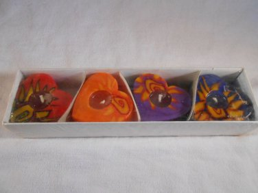 Colorful HEART Shaped VOTIVE CANDLES Set Of 4 Wax Candle (#34649)