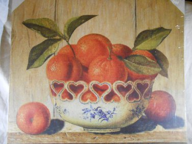 COUNTRY ORANGE Canvas Print WALL ART Fruit Bowl (#38423)