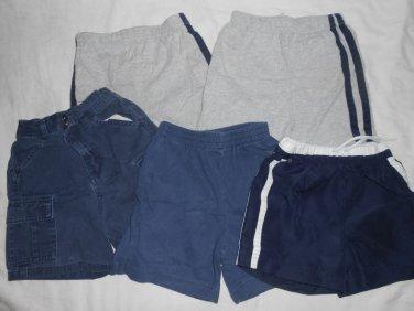 BOYS 5 Piece Lot Various SHORTS Blue & Gray 24 Months 24M Kids Clothes Summer