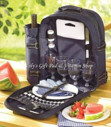 PICNIC BACKPACK Place Setting For 4 People 30 Pieces Total BBQ (#33037)