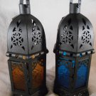 CANDLE LANTERN Iron & Glass, Blue or Yellow LANTERNS Uses Tealights or Votives