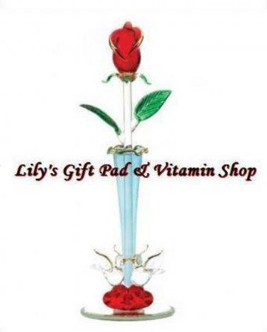 Spun Glass ROSE BUD VASE Figurine VALENTINES DAY Red Roses (#12533)