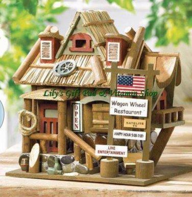 Restaurant BIRDHOUSE Wagon Wheel Outdoor SPRING TIME Garden Bird Houses (#32187)