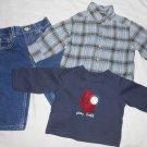 BOYS 3 Piece Lot LEVIS JEANS, FLANNEL & T SHIRT 12 Months 12M Kids Clothes