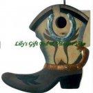 Cowboy Boot BIRDHOUSE Western Outdoor SPRING TIME Garden Bird Houses (#13906)