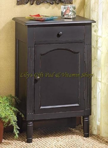 ANTIQUED Black Wood CABINET Storage End Table Night Stand (#39092)