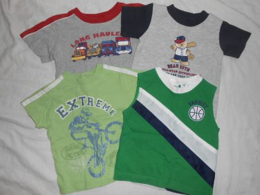 BOYS 4 Piece Lot Short Sleeve SHIRTS Tank Top 12 Months 12M Kids Clothes SPORTS